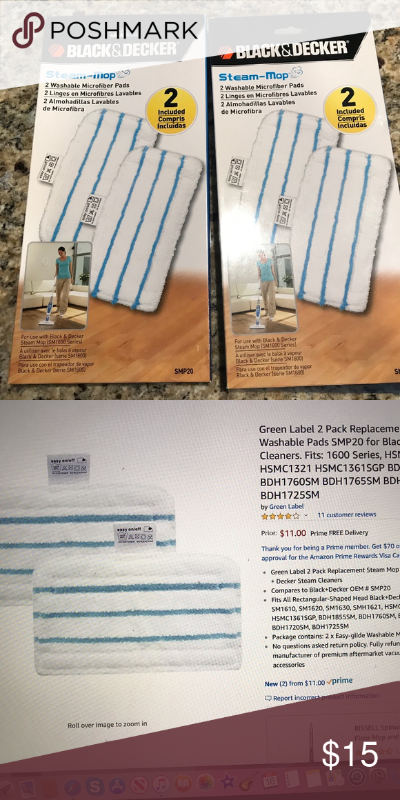 Black And Decker Steam Mop Pads Nwt With Images Steam Mop Mop Pads Things To Sell