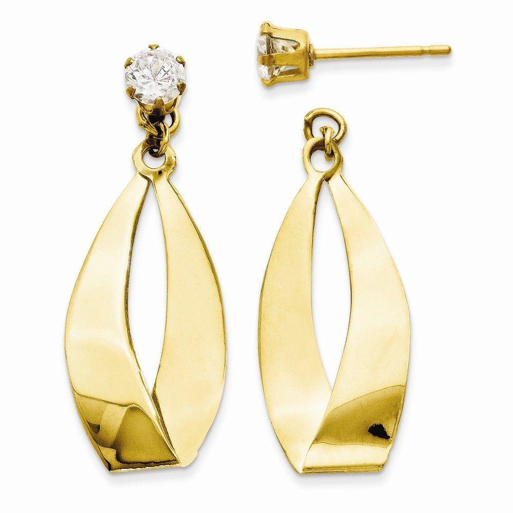 14k White Gold Polished Oval Dangle with CZ Stud Earring Jackets Length 28 Width 11