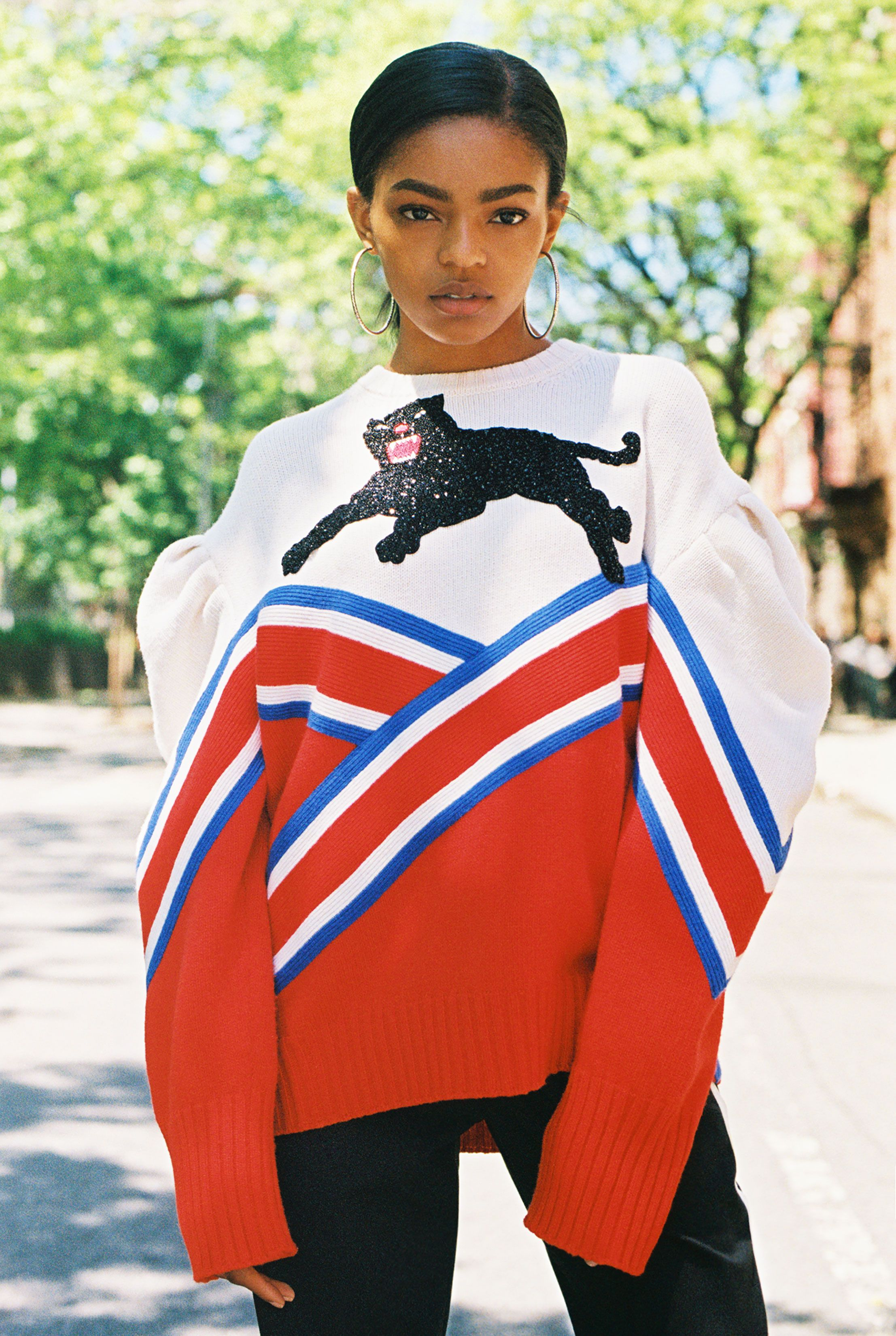 bbc9598c4bbb Selah Marley, 17, wears a Gucci graphic panther embroidered knit. Produced  by Vogue for Gucci.