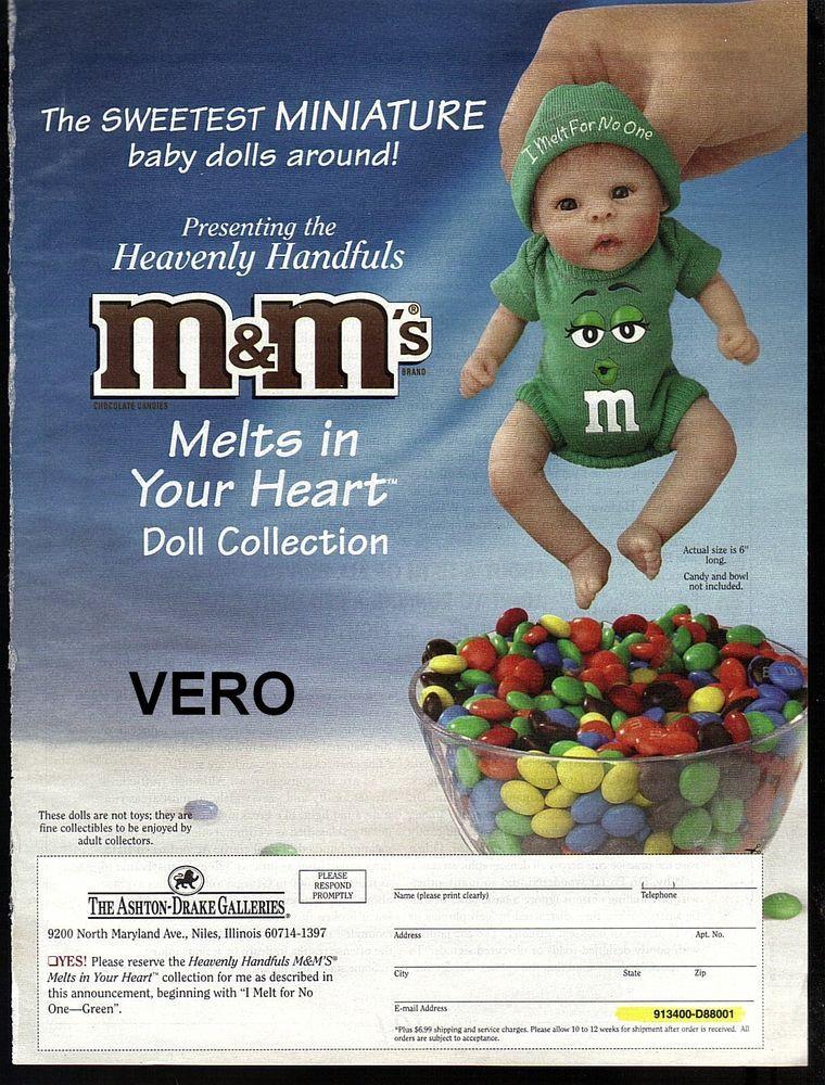 2008 magazine ad M&M's MINIATURE BABY DOLL 2-pages mms M&M print (ashton drake)