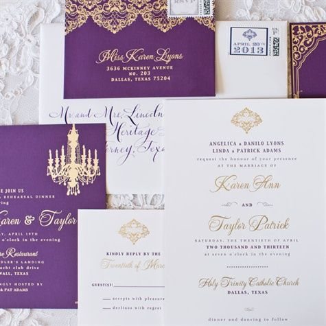 Don't just be husband and wife, be king and queen. This Royal purple and gold deatil wedding invitation with elegant font gives your guest the VIP touch  Invitations: Love & Wit Paper Co. Photo: Thisbe Grace Photography