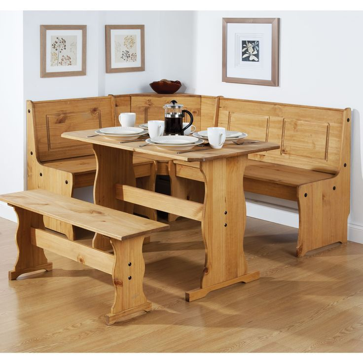 L Shaped Clear Coating Dining Bench With Back And Rectangular Wooden Table
