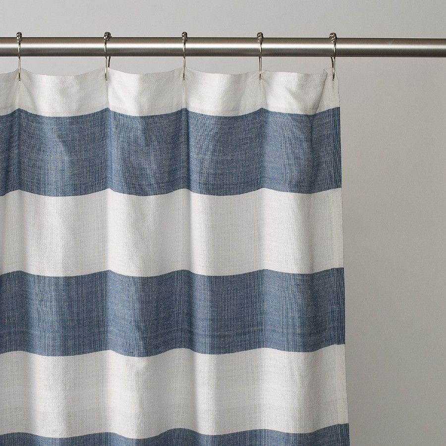 Navy Blue And White Vertical Striped Shower Curtain