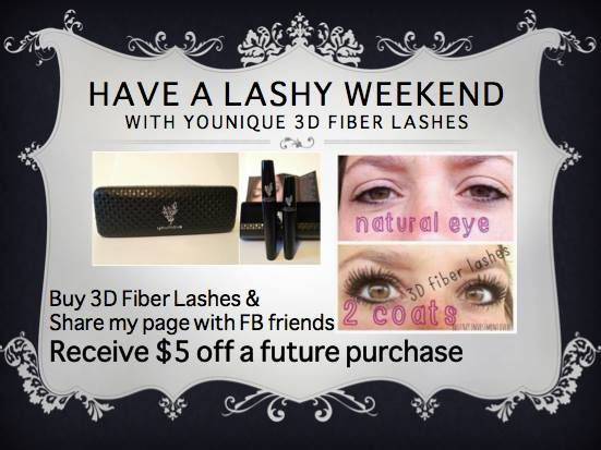 Just mention this ad (youniquebyjessiej@gmail.com), share my page ~*~ www.facebook.com/JessieJYouniqueBoutique ~*~  and $5 off next purchase is all yours!!! Purchase 3D Fiber Lashes and more here: https://www.youniqueproducts.com/JessieJ