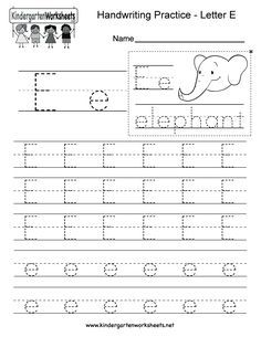Letter E Writing Practice Worksheet. This series of ...
