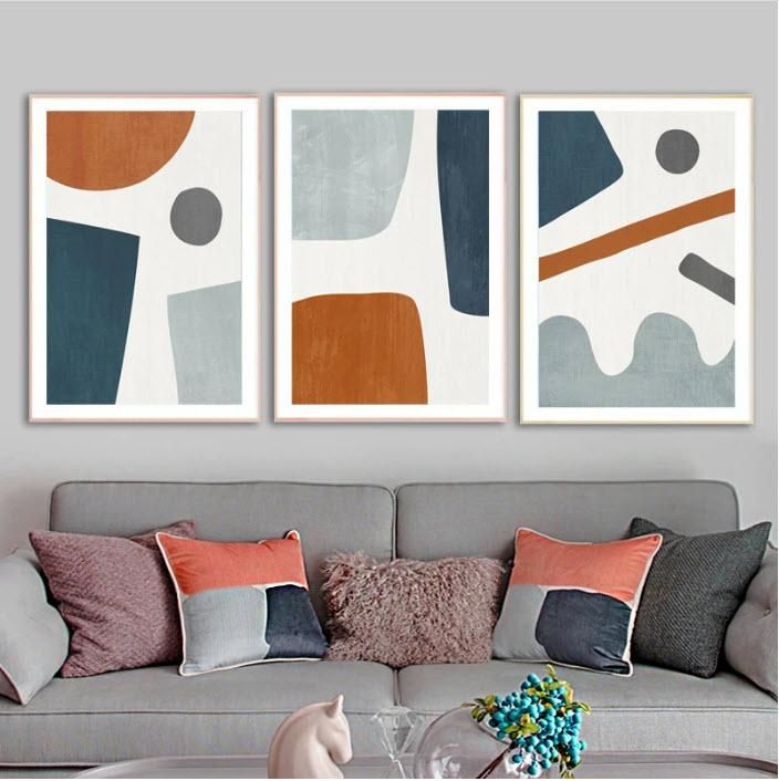 Navy and Burnt Orange Organic Shapes Prints. This modern geometric design is a great way to tie in room colors while adding style and flare to any room. #Abstractwallart, #blueorangewallprint, #wallartprints, #wallartdecor, #wallartabstract, #wallartabovecouch