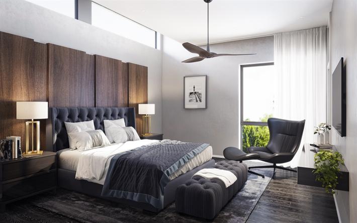 Herunterladen Hintergrundbild Schlafzimmer, Modern Eingerichtet, Großes  Bett, Modernes Design, Graue Innenausstattung,