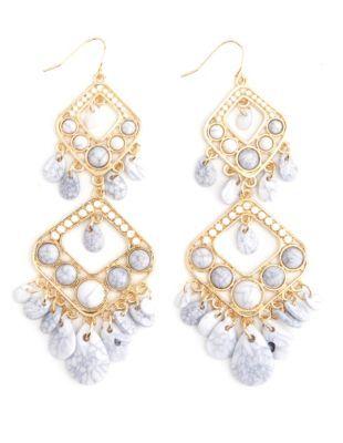 crackled stone chandelier earrings