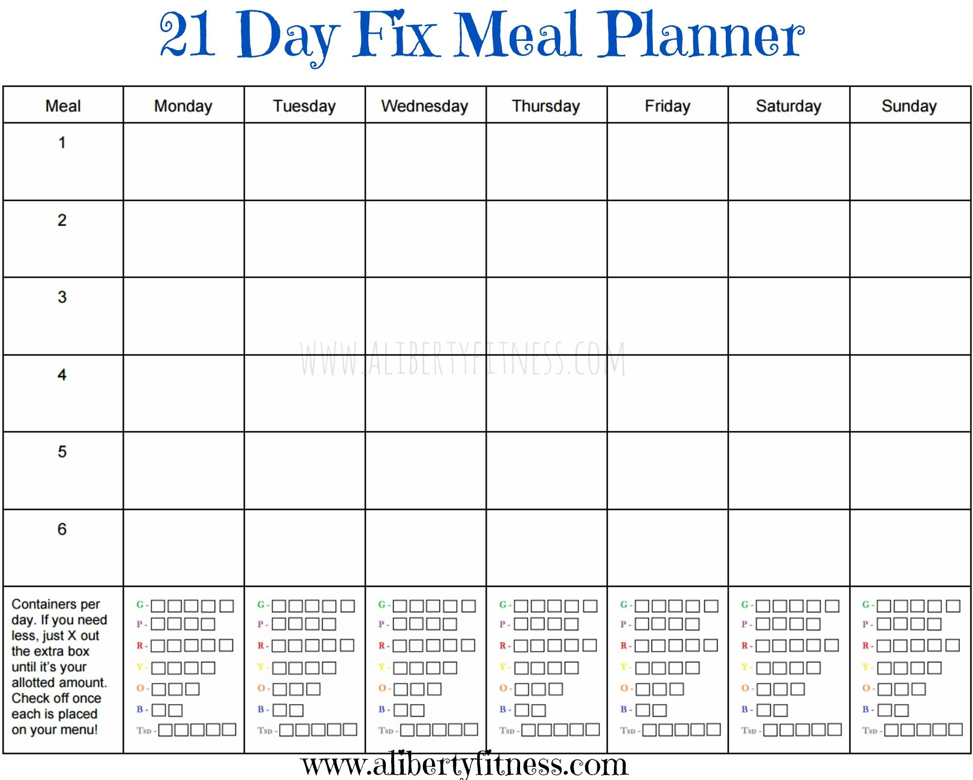 21 Day Fix Meal Planner And Grocery List With Images