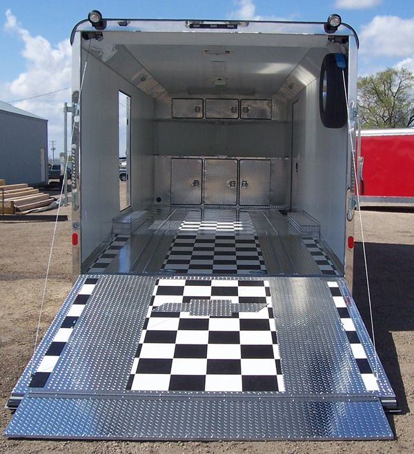 Checkered floor with aluminum tread plate strips | Trailers ...