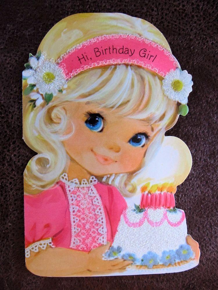 Vintage Cutie With Lit Birthday Cake Card Vintage Birthday