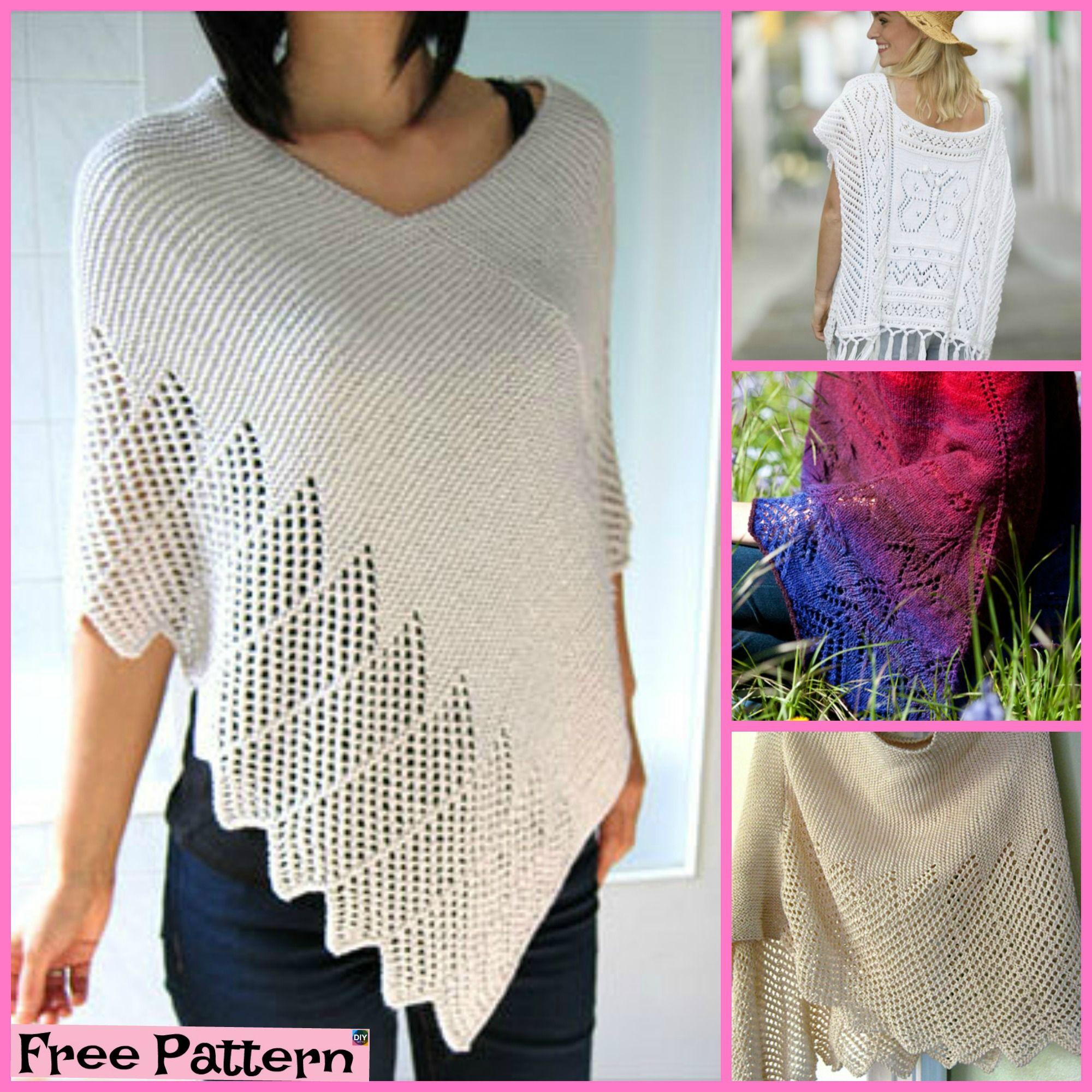 Pretty Knitting Lace Poncho- Free Patterns #freeknittingpatterns ...