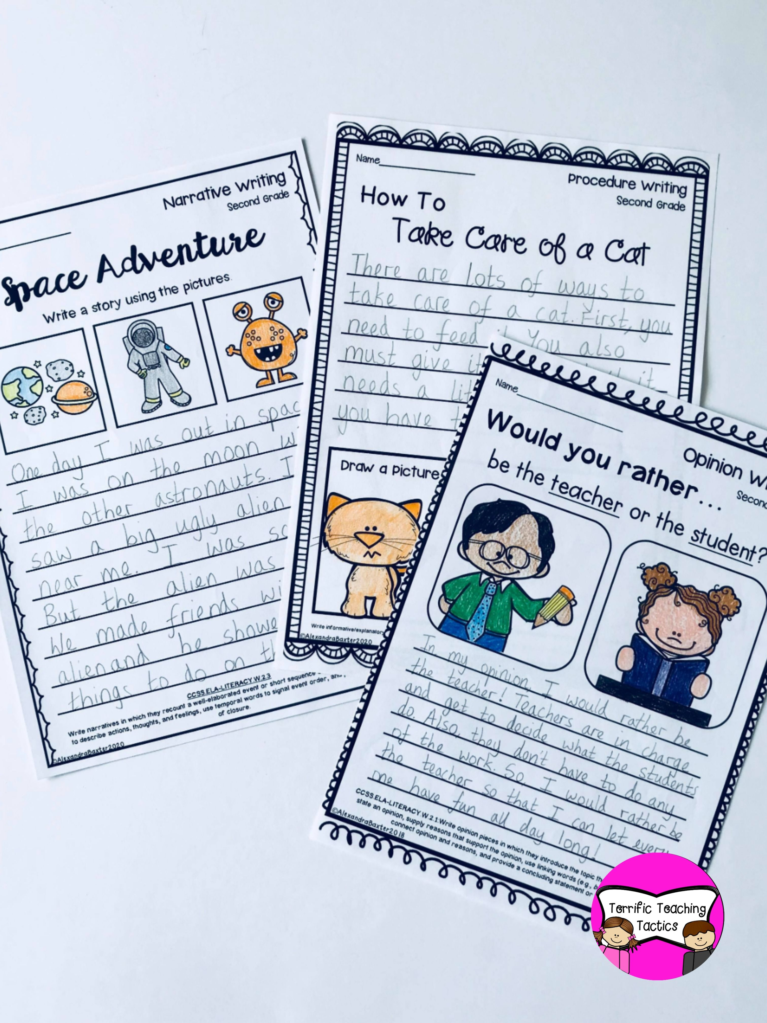 Second Grade Writing Worksheets Prompts Bundle Opinion