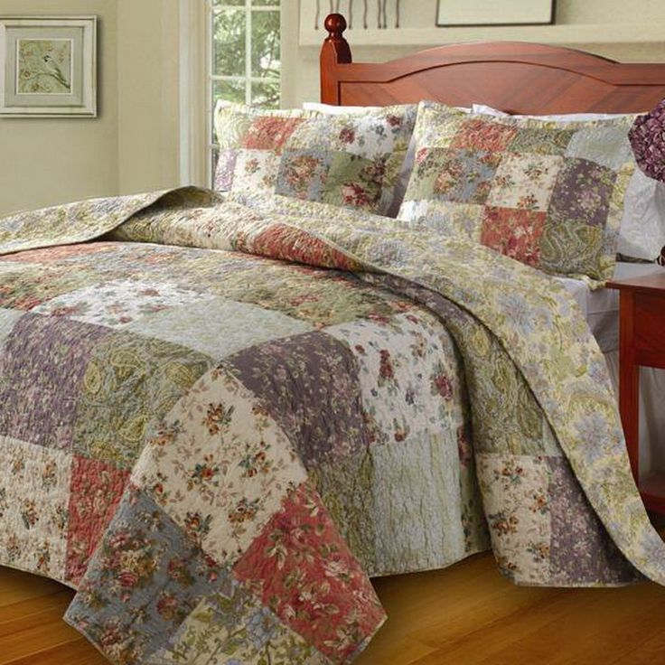 Country Cottage Patchwork Cotton Bedspread Set Oversized Colchas