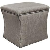Groupie Pewter Nailhead Storage Ottoman $199