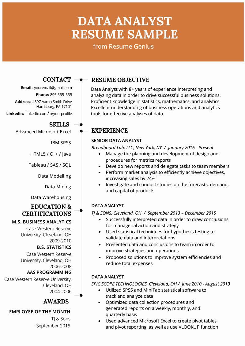 Business Data Analyst Resume Elegant Data Analyst Resume Example Writing Guide Business Analyst Resume Data Analyst Resume Summary Examples
