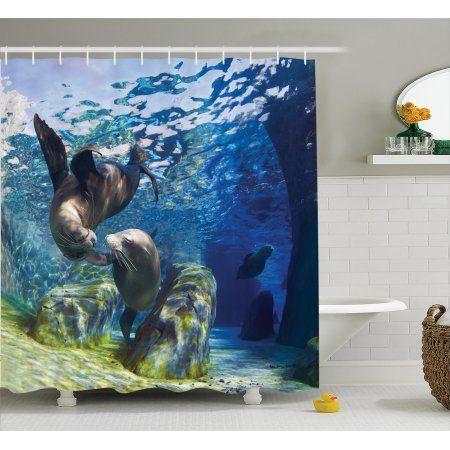 Underwater Fish Shower Curtain Set, Playful California Sea Lions