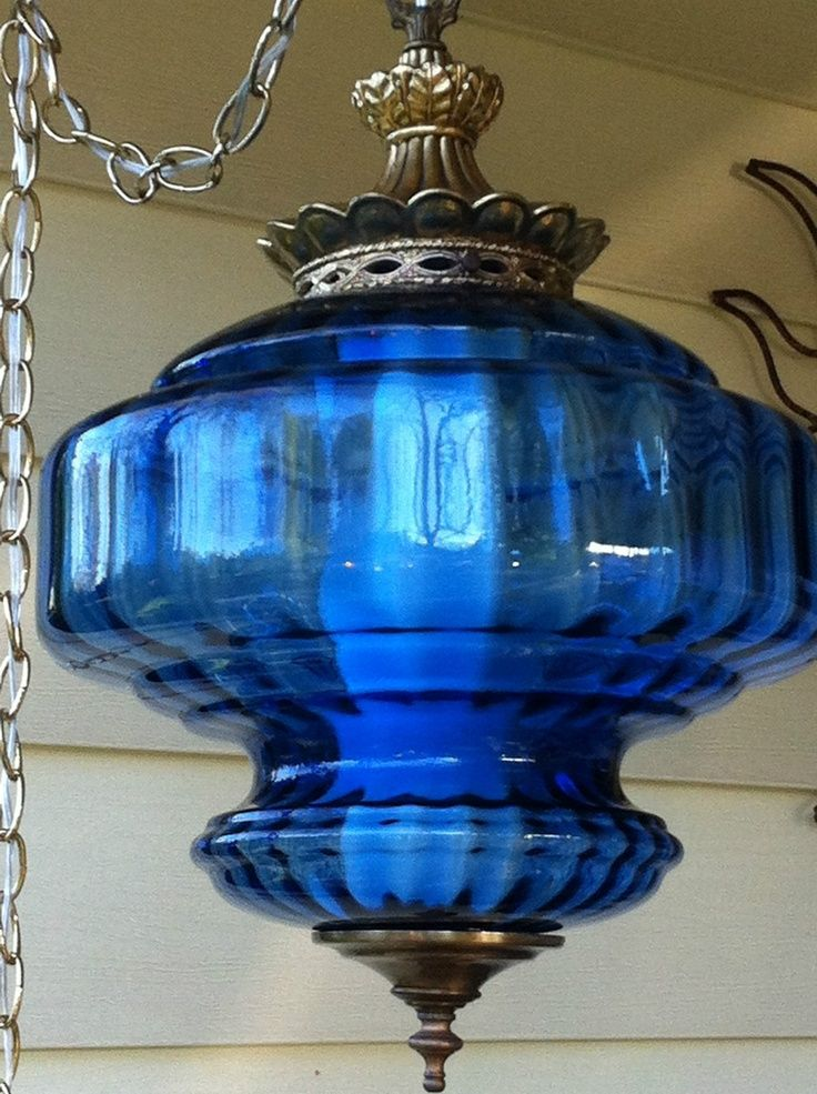 Blue Glass Hanging Lamp Cobalt Glass Antique Lamps