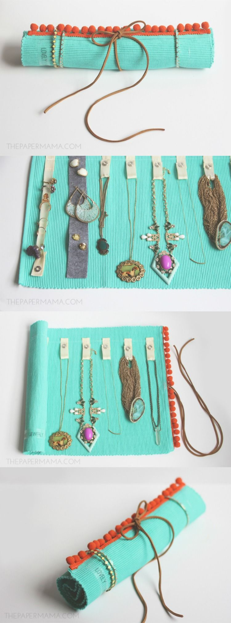 Diy jewelry roll made from a placemat diy jewelry
