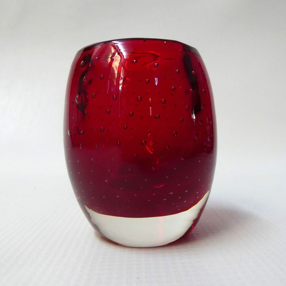 Whitefrairs Ruby Red Controlled Bubble Ovoid Small Glass Vase Pot 9506 60s 70s Small Glass Vases Glass Blowing Controlled Bubble