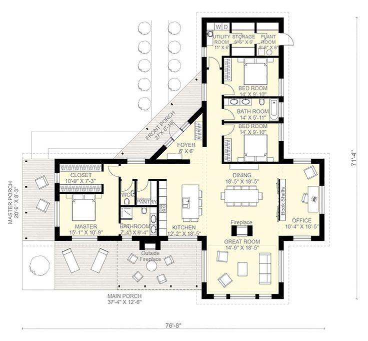 Hausplan im zeitgenössischen Stil - 3 Betten 2. 5 Badezimmer 2180 m² / m² # 924-1 - Hauptgrundriss - Houseplans.com - #badezimmer #Betten #Hauptgrundriss #Hausplan #house #Houseplanscom #im #m² #Stil #zeitgenössischen #buildingahouse