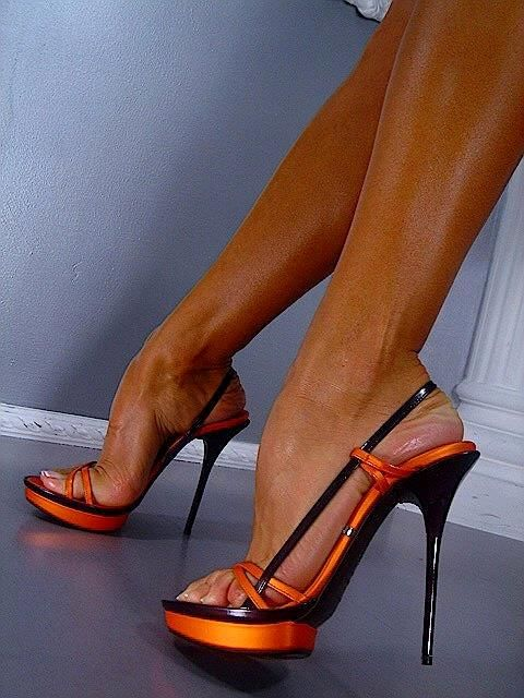 Sexy orange lace up platform chunky heels shoes post