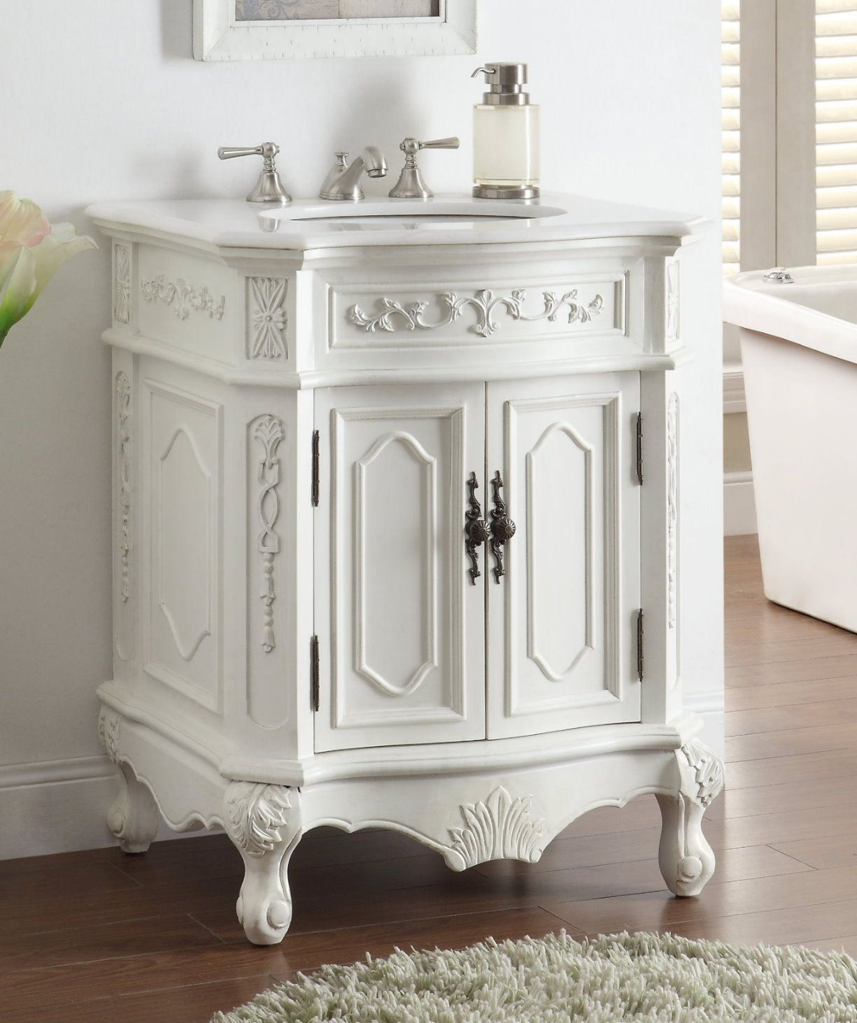 27 Inch Adelina White Finish Antique Bathroom Vanity With Images