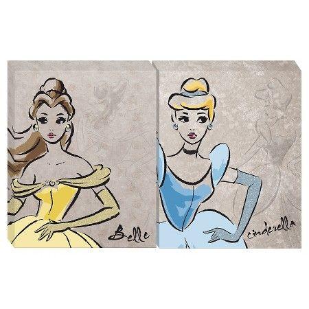 Disney Vintage Princess Canvas 16 X20 Set Of 2 Target Princess Canvas Disney Princess Bedroom Girls Princess Bedroom