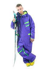 One Piece Snow Suit Ski Snowboard Jacket Mens Purple