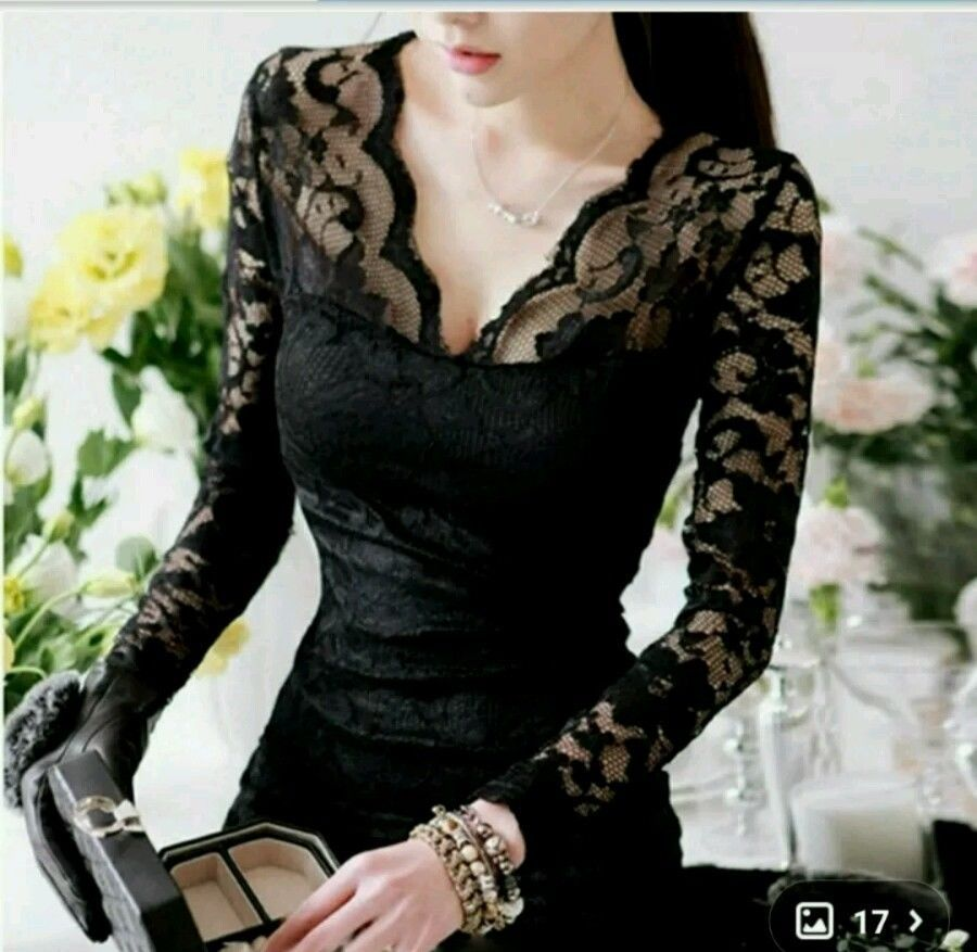 Sexy women ladies black floral lace slim stretchlong sleeve bodycon