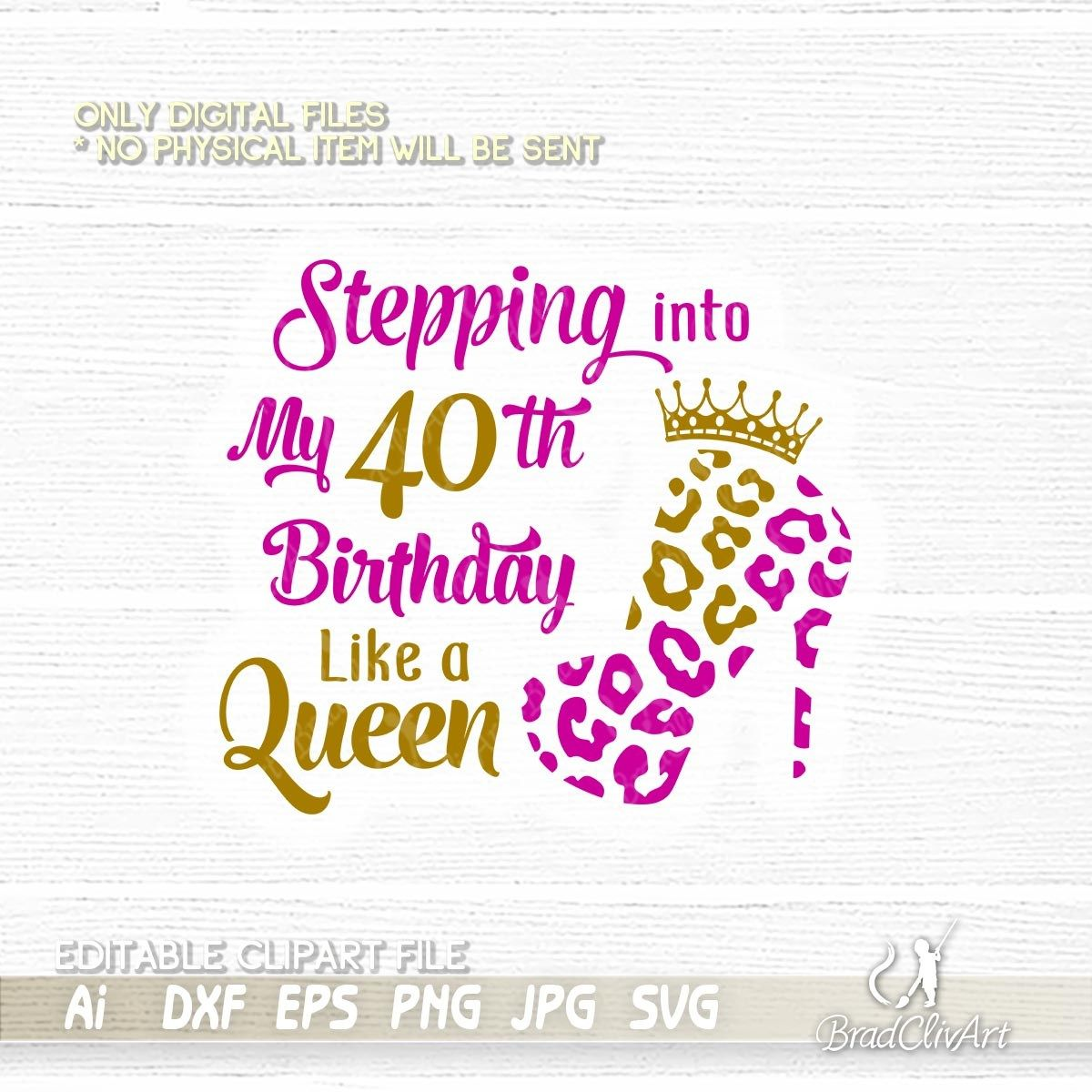 Silhouette Fifty Fab Woman: Stepping Into My 40 Th Like A Queen And Birthday Squad SVG