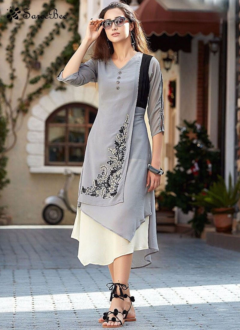 Haute Embroidered Work Faux Georgette Grey Party Wear Kurti Make the ...