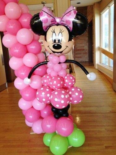 Fiesta de minnie mouse decoracion con globos fiestas - Decorar con globos ...