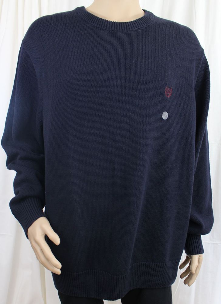 Chaps Navy Blue Long Sleeve Crew Neck Sweater Big and Tall 2XB #Chaps #Crewneck