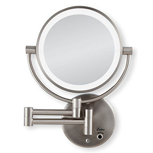 Zadro Satin Nickel Cordless Led Lighted Wall Mount Mirror 5x 1x Magnification In 2020 Lighted Wall Mirror Wall Mounted Mirror Mirror Wall