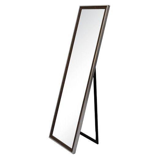 Rectangle Leaner Floor Mirror Brown With Metal Foil Trim Threshold Floor Mirror Mirror Leaning Floor Mirror