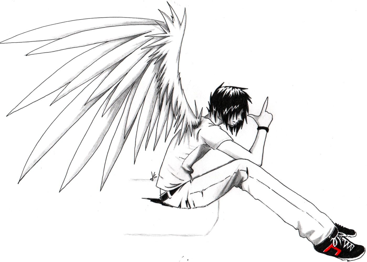 anime drawings | Emo anime angel boy, Anime Love Couples , Anime ...