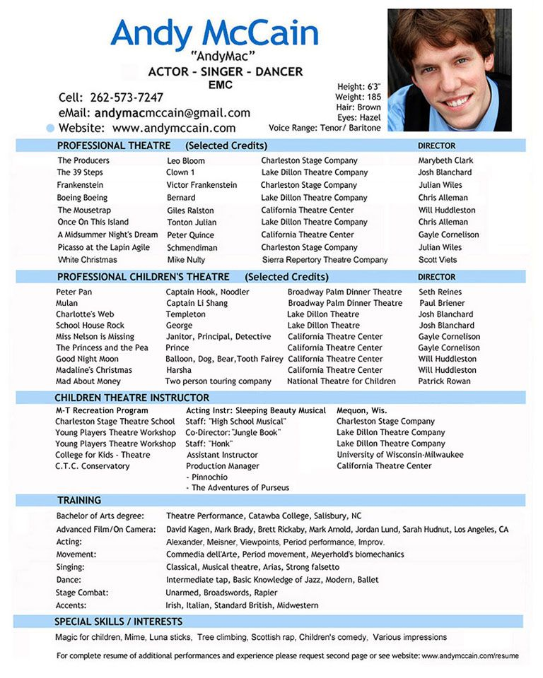 Professional Actor Resume - Professional Actor Resume we provide - professional reference