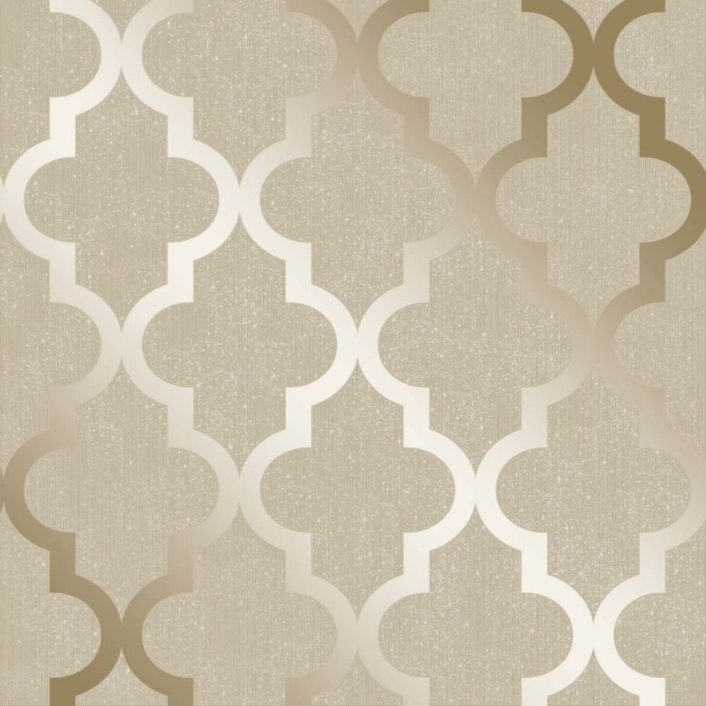 Camden Trellis Wallpaper Cream Gold H980531 Dinner Room