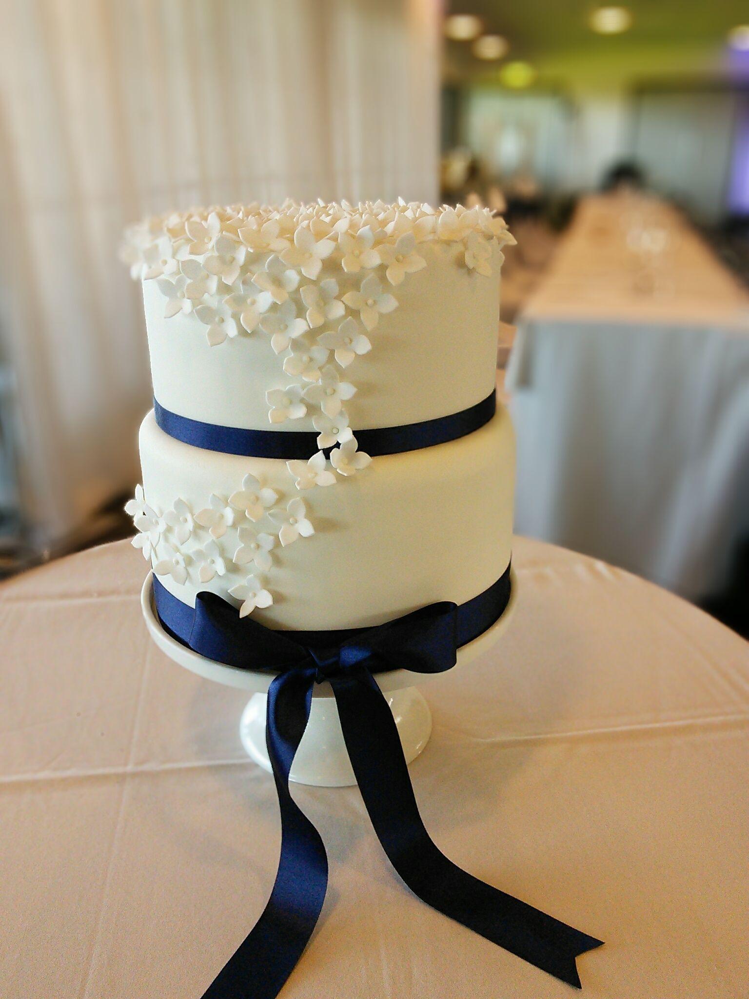 Navy Blue And White 2 Tier Wedding Cake Wedding Cake Navy Navy Blue Wedding Cakes 2 Tier Wedding Cakes