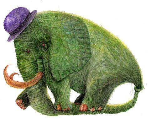 elefante+VERDE+YERBA.