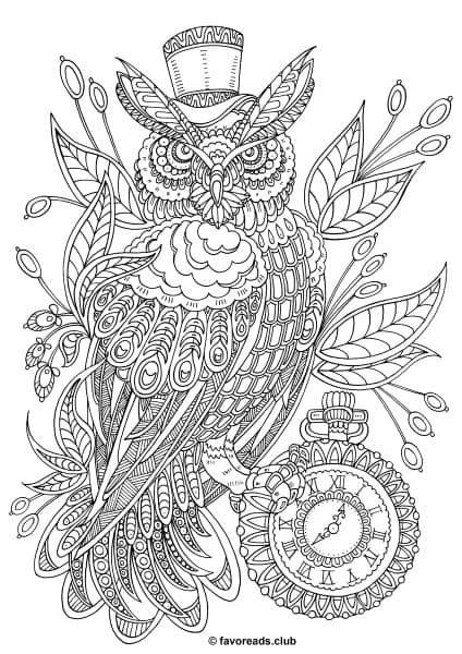 Fantasia – Steampunk Owl   coloring pages   Pinterest   Mandalas ...