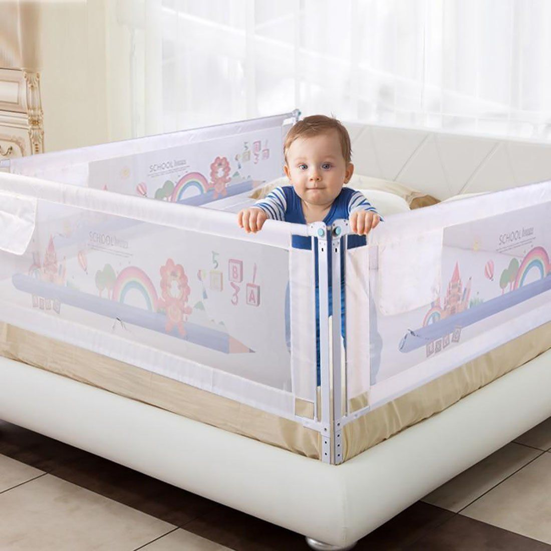 Baby's Bed Fence Safety Gate Security for Bed Crib Rails ...