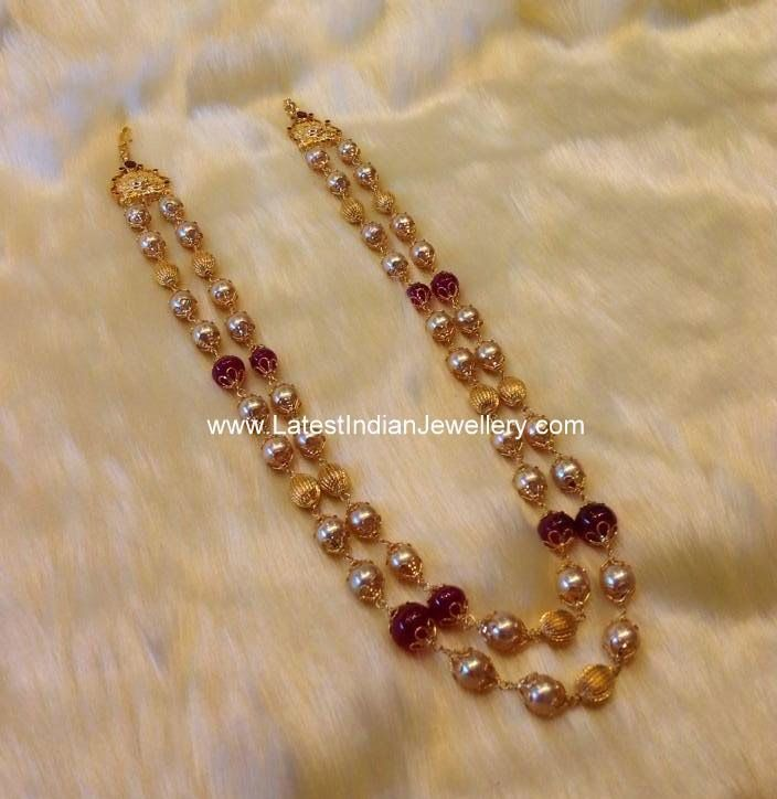 2 Row Pearl Beads Necklace Gold Earrings Designs Gold Jewellery