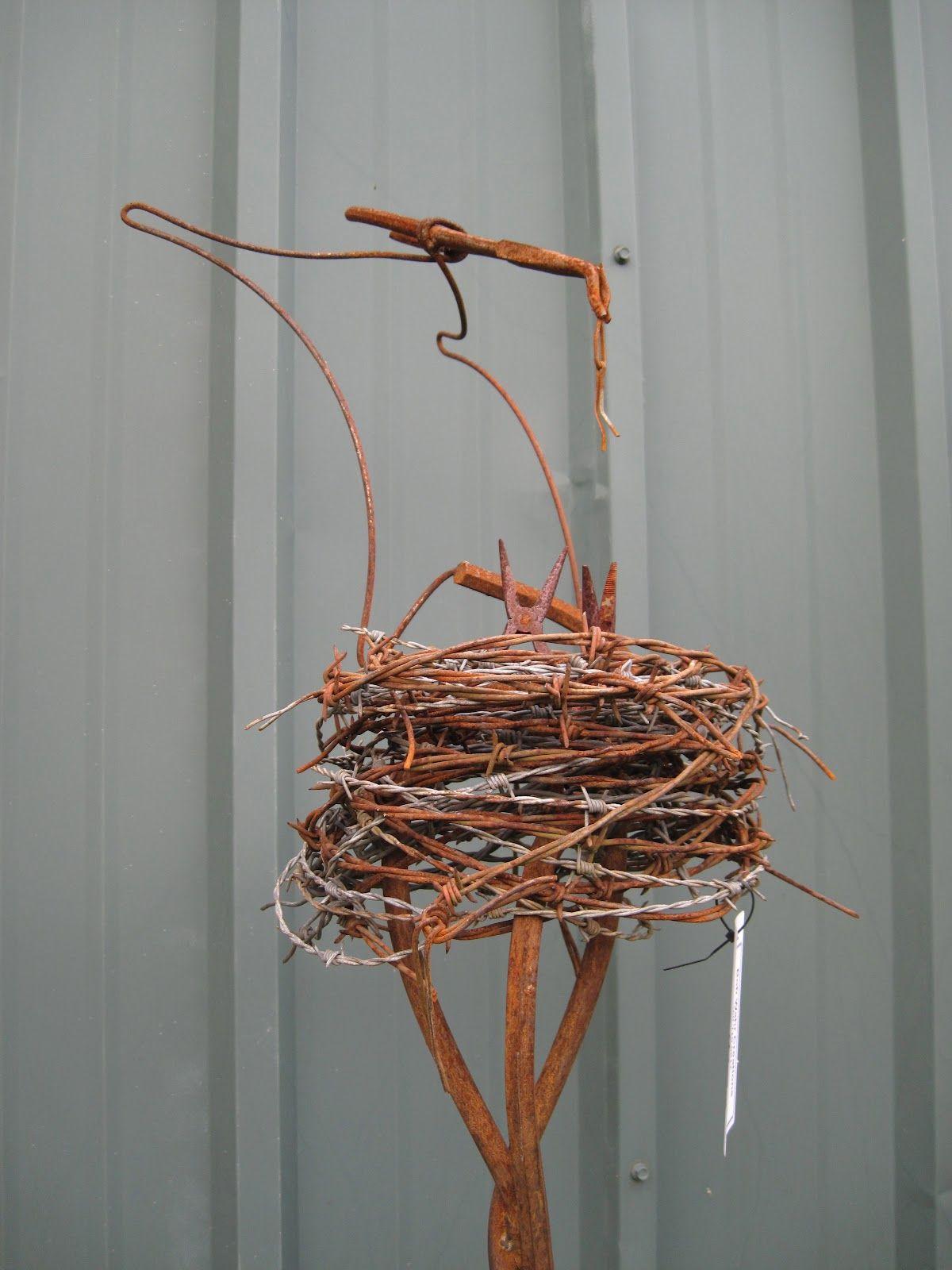 Bob Wahr Creations -- Found object art, rusty barbed wire bird\'s ...