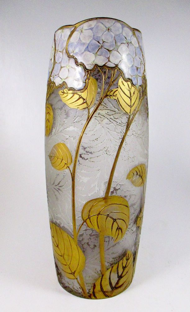 """MONT JOYE Etched Cameo & Enameled Hydrangea Art Glass Vase Signed ca.1900 12""""T"""