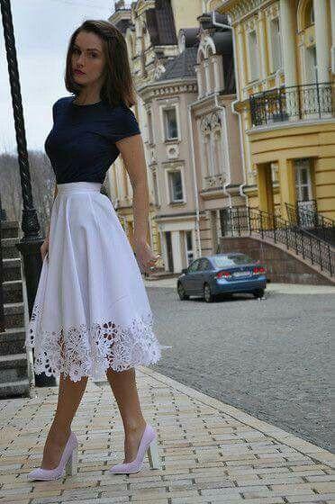 Saia Midi Renda Na Ponta Fashion New Look Skirts Modest Fashion