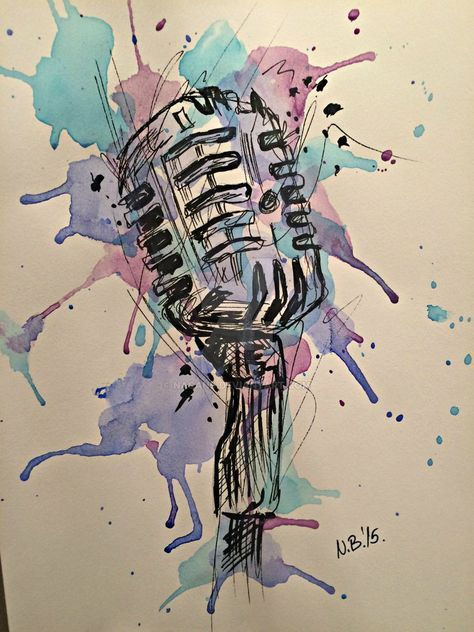 Microphone By Nacans On Deviantart Music Tattoos Music Drawings