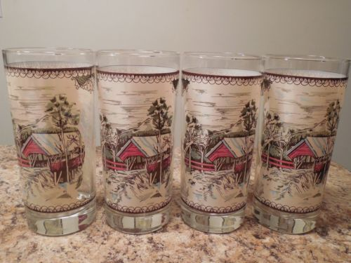 Set of Four Johnson Brothers Friendly Village Glass Tumblers Ice Tea England...have these..love them!