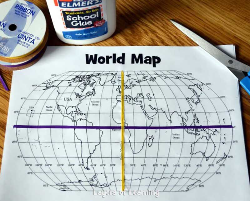A grid on our earth an exploration on map grids social studies this lesson plan includes a printable world map with a map grid and shows you how to walk kids through a basic understanding of how map grids work gumiabroncs Choice Image